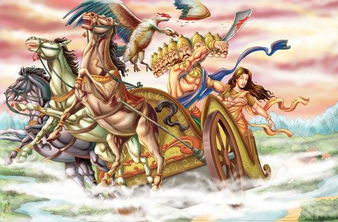 Ramayana-story-Jatayu-sacrifice-in-fight-with-Ravana